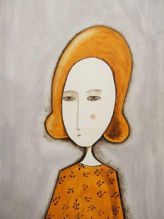 The woman in ocher- oil on paper