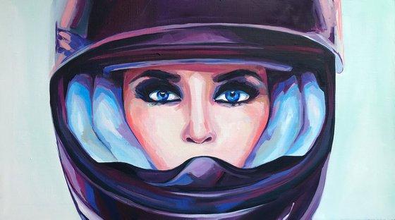 VOISE - oil painting home decor feminism woman in helmet purple eyes blue