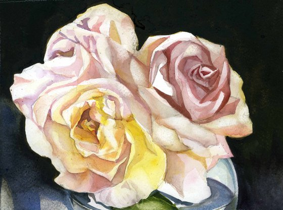 three roses watercolor floral