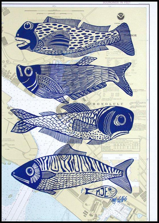 Four Fish, linocut on seachart