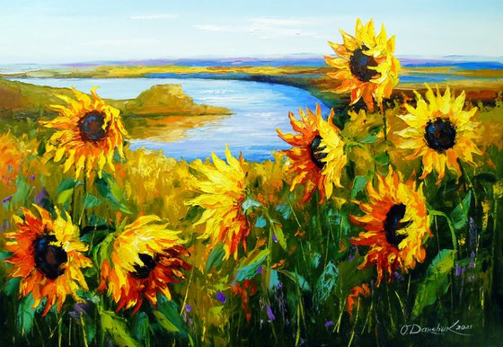 Sunflowers in the wind by the river