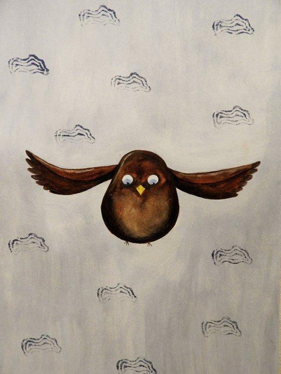 The flying bird - oil on paper