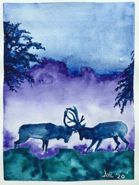 Rutting stags