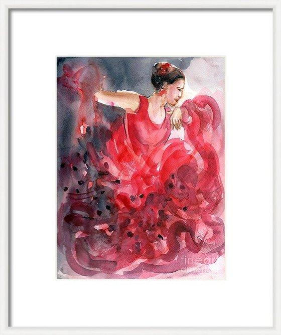"Flamenco Dancer Flamenco Frenzy 5 Watercolor (9""x 12"" )"