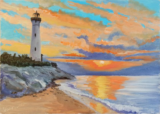 The lighthouse and sunset