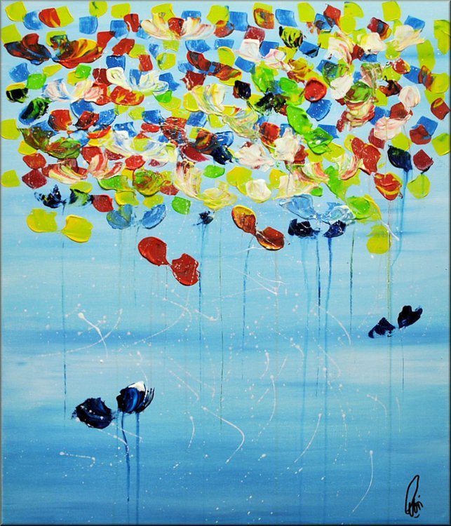 Under The Blue Sky Acrylic Abstract Painting Flowers Blossoms Nature Painting Canvas Wall Art