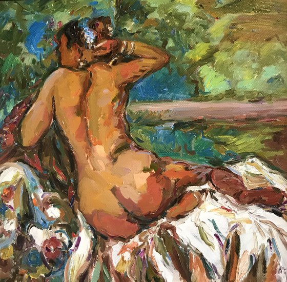 ODALISQUE. IN THE LAP OF NATURE - Nude art, original painting, oil on canvas,  beautiful girl laying, impressionism, home decor, gift