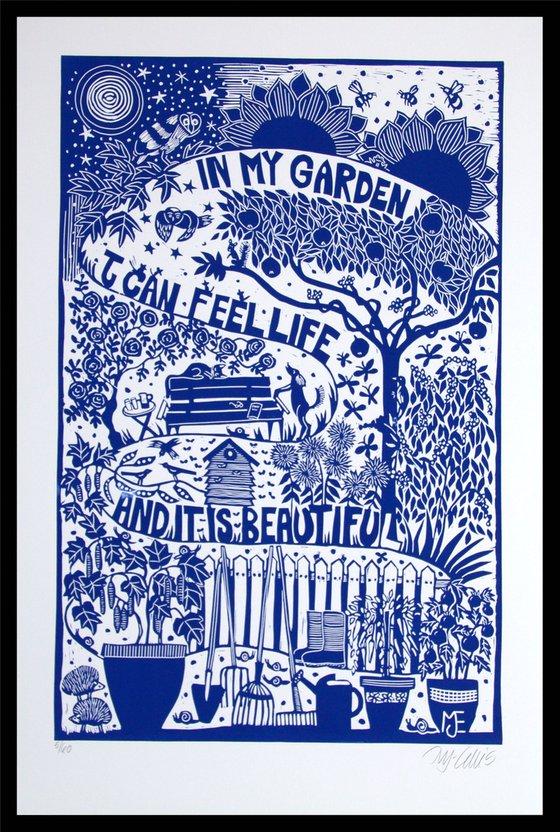 In my Garden, XL blue and white linocut