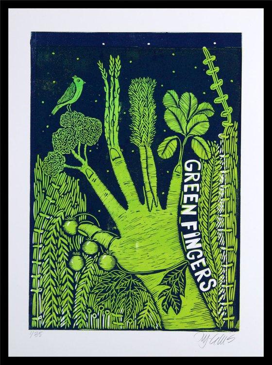 Green Fingers, 2 plate linocut