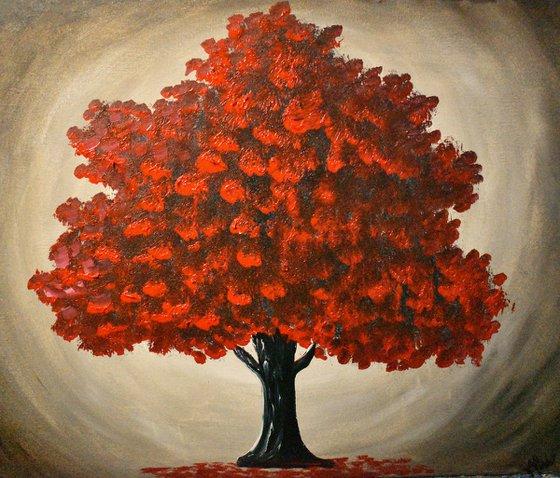 Majestic Vibrant Red Tree
