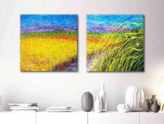 """Path in the field painting Summer landscape Wheat field - READY TO HANG - Diptych 20""""  x 40"""" / 50 x 100 x 2 cm. Seascape Path to the sea"""