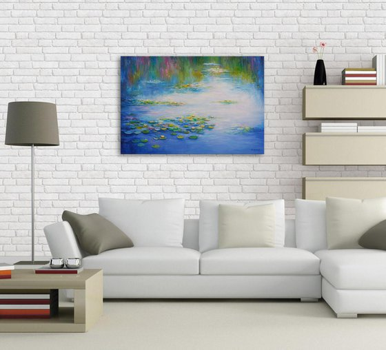 Water Lilies -  Original oil painting, Ready to hang