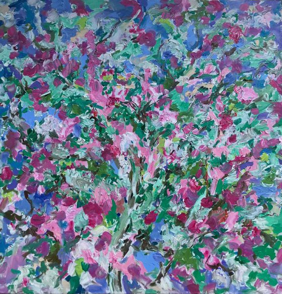 Apple Tree Blossom - floral landscape, large original oil painting