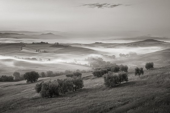 Fog river in Tuscany - Italian Landscape Art Photo