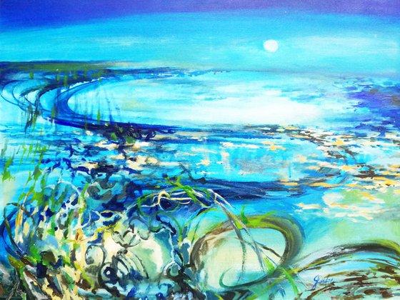 Painting   Acrylic   Blue landscape
