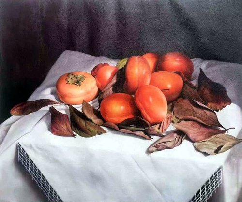 Still life:Persimmons on the table