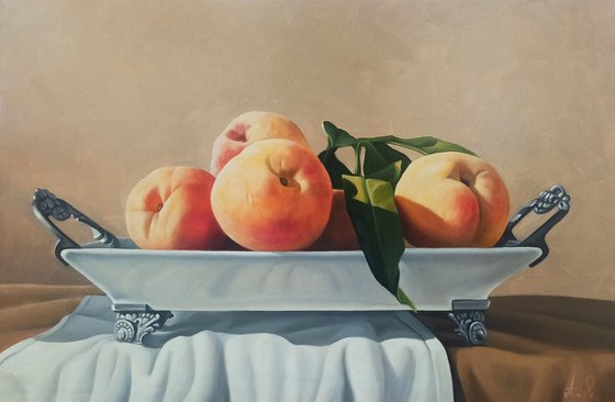 Still life with peaches-2   (40x60cm, oil painting, ready to hang)