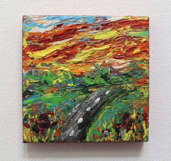 New beginnings - Acrylic Landscape Painting on mini canvas -with mini easel - gift art - impressionistic