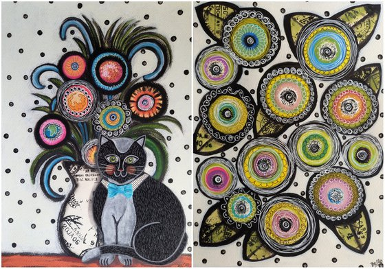 """Pair of illustrations """"Black Cat with Flowers"""""""
