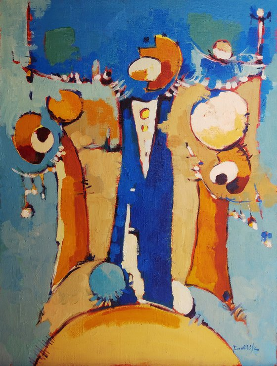 Abstract - Pantomime (60x80cm, oil painting, ready to hang)