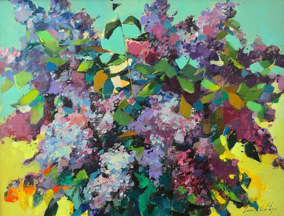 Lilacs, Flowers Original oil Painting, Impressionism, Painting on canvas, Framed, Ready to hang