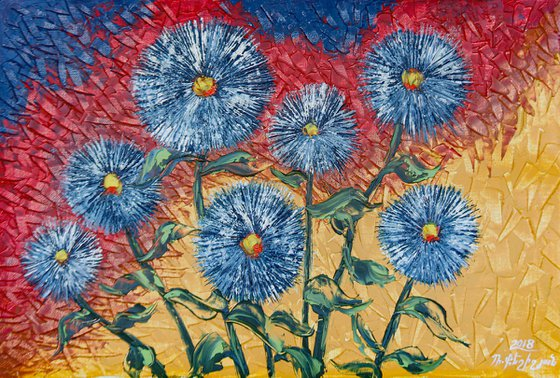 Asters 40x60cm, oil painting, ready to hang