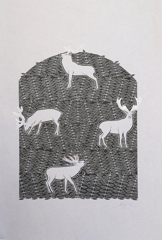 Yggdrasil, Tree of Life, black and shiny silver