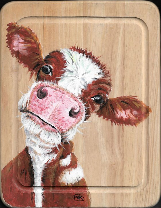 Cow painting on wood. Kitchen Art