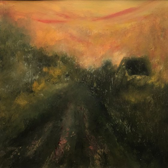 Country Life I - original, mounted painting
