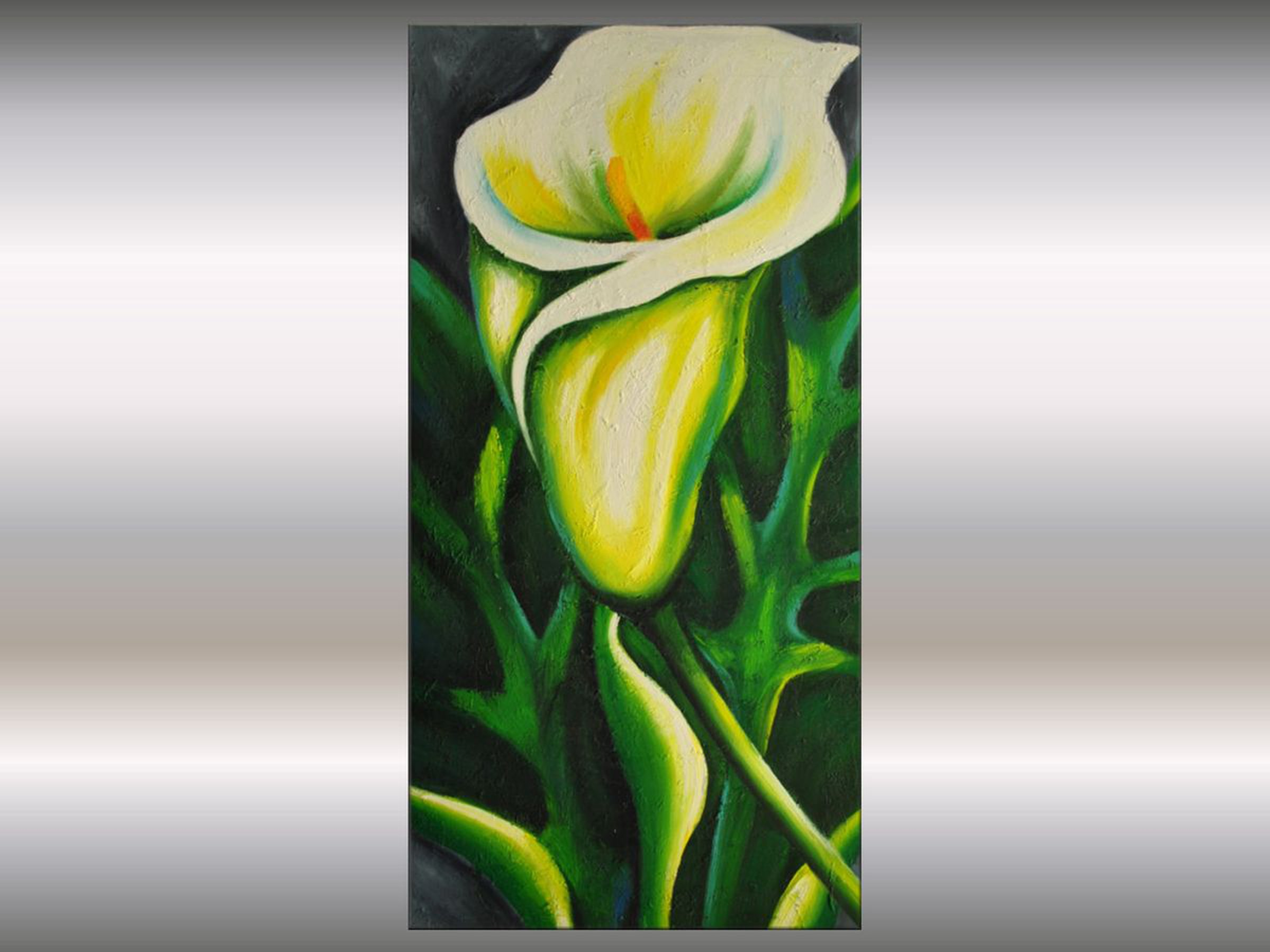 White Calla Acrylic Abstract Painting Flowers Blossoms Nature Painting Canvas Wall Art