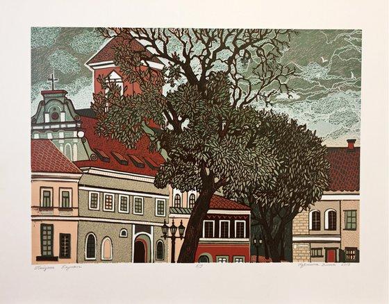 "Linocut print with views of Lithuanian city ""Kaunas"" 2019, reduction linocut, 35x45 cm"