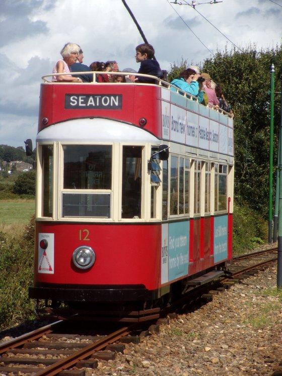 Red and white Seaton tram, Devon