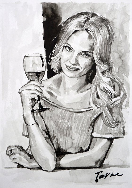 A glass of wine 30X42