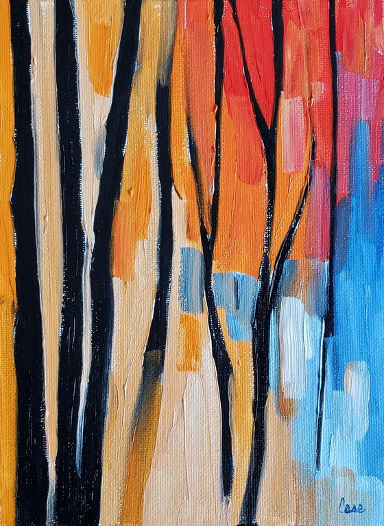 """""""Saplings at Sunset"""" - Abstract - Landscape"""