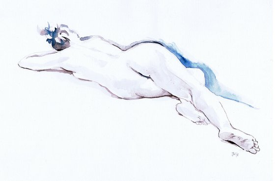 Nude reclining, back view