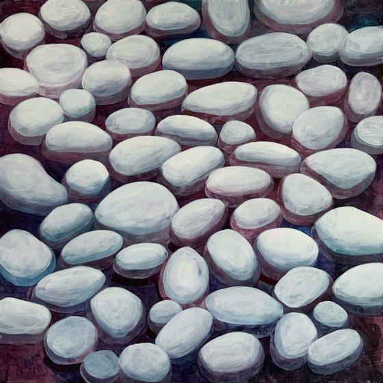 """THE DRY STONES"" - GIFT ORIGINAL HOME DECOR NAIVE ART OFFICE INTERIOR"