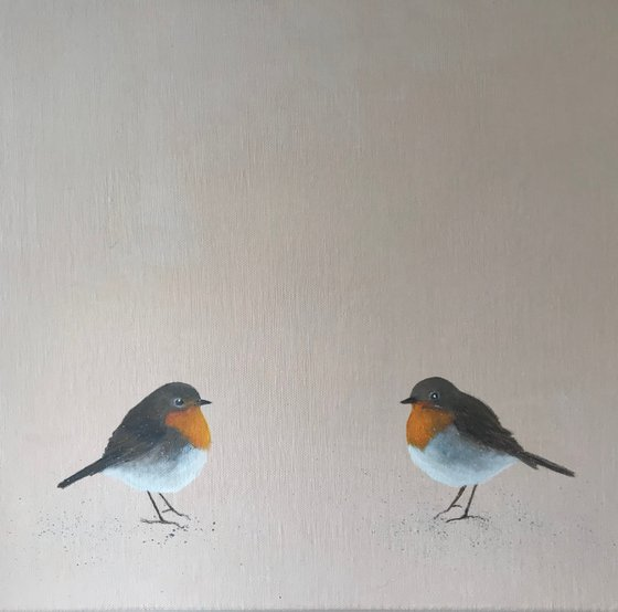 Two Little Robins ~ on white gold