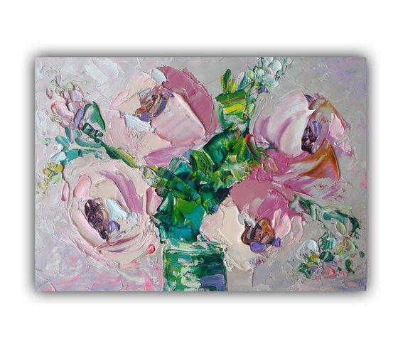Bouquet of pink flowers, Flower Painting Art, Peonies Original Painting, Modern Floral Wall Art, Rose Painting