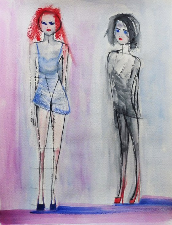 FEMALE FIGURES FASHION MODELS DRESSES. Sketch Study.