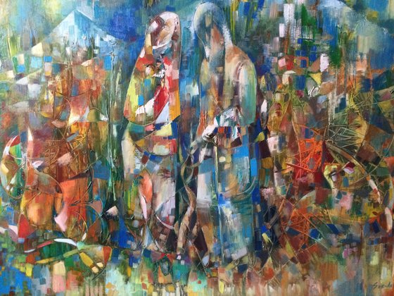 The first vintage(80x100cm, oil painting, ready to hang)
