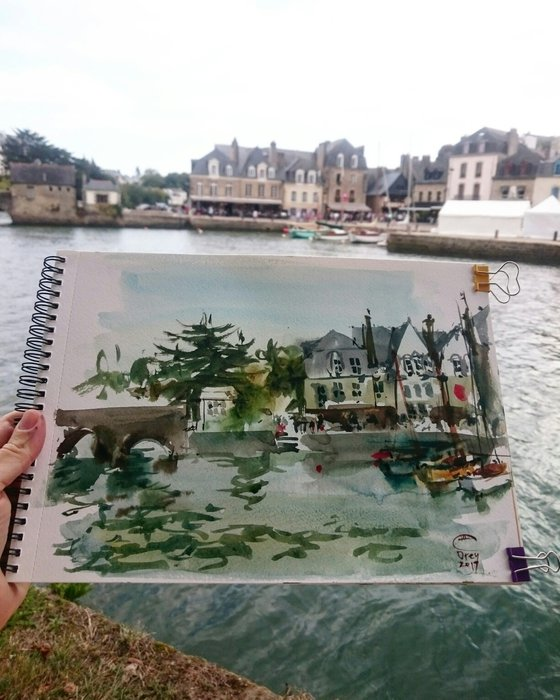 Small port in Brittany. Auray, France.