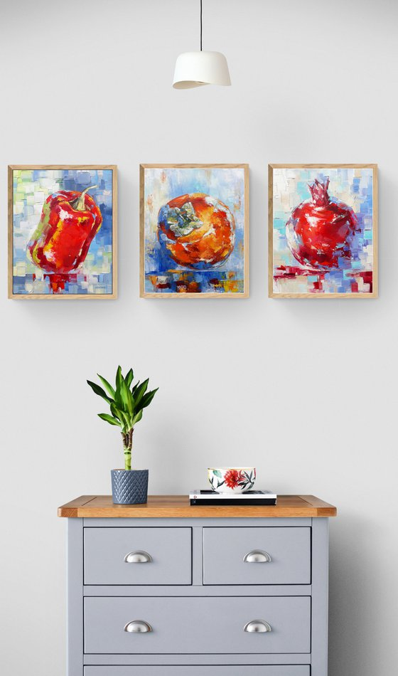Still life-triptych(24x30, 24x30,24x30cm, oil painting, ready to hang)