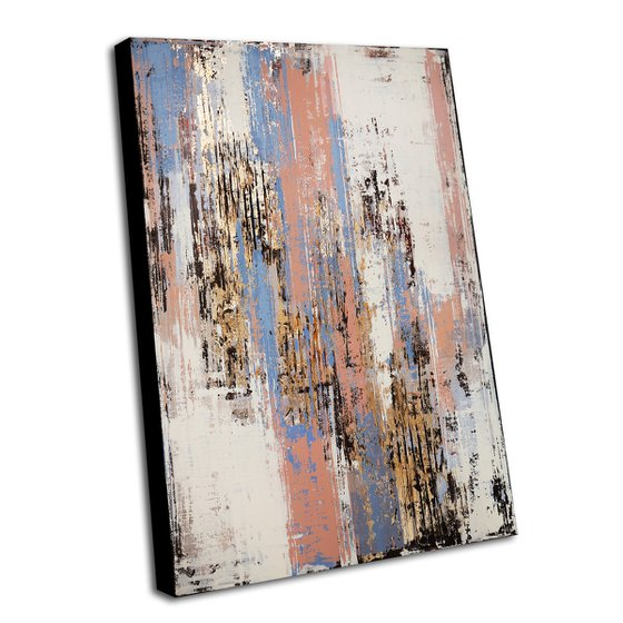 SUMMER WIND - ABSTRACT ACRYLIC PAINTING TEXTURED * PASTEL COLORS * READY TO HANG