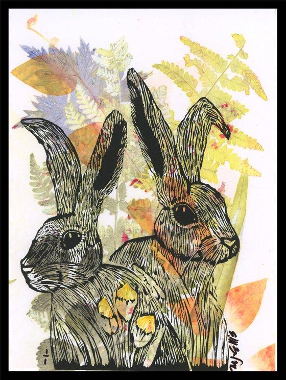 Summer Hares, monoprint linocut
