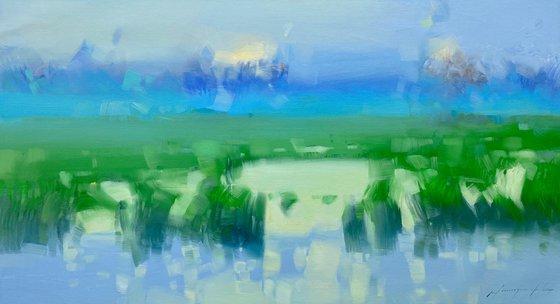Summer Lake, Original oil painting, Handmade artwork, One of a kind