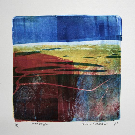 Night Drive to the Coast - Ink Monotype on Paper Unframed