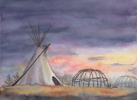 Peace Valley - Regina Saskatchewan Canada, Teepee, sweat lodge, original watercolor