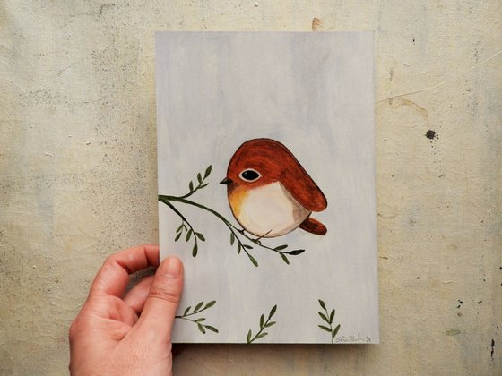The small bird in burnt Sienna color - oil on paper