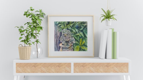 Sculpture in the jungle in Bali - original watercolor from travel to Bali