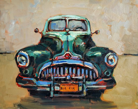 Retro pictures series -2  Old Volga(24x30cm, oil painting, ready to hang)
